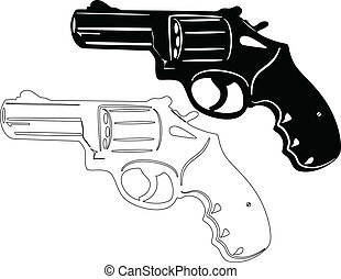 Gun Revolver - illustration of revolver silhouette