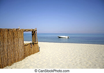hut - reed hut on beach, red sea, sinai, egypt
