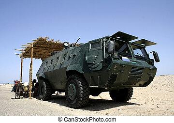 egipcio, policía, coche, patrulla