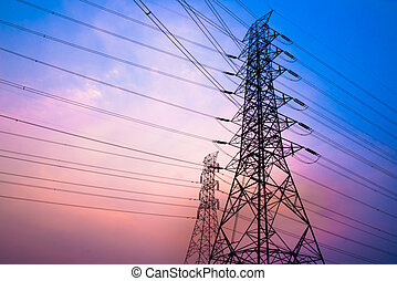 High voltage post and sky in twilight time