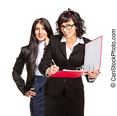 Two business woman, isolated on white