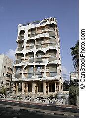 gaudi style building in tel aviv, israel