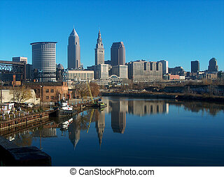 Skyline of Cleveland, Ohio - Cleveland, Ohio USA on the...