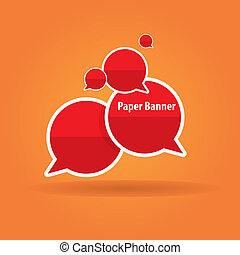 vector abstract red paper banner or speech bubble - red...