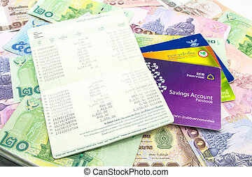 Thailand banknotes and Account Passbook