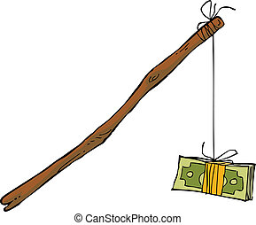 Money on a rope on a white background vector illustration