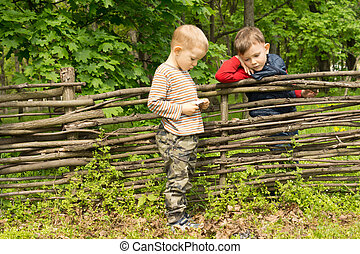 Two little boys having a discussion over a fence - Two...