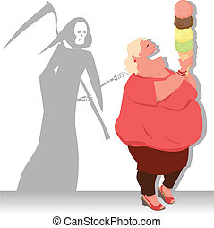 Dangerous diet - Grim Reaper touches an overweight woman,...