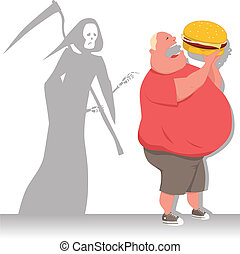 Danger of overeating - Grim Reaper tags an overweight man...