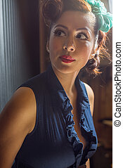Beautiful female in vintage fashion - Attractive female in...