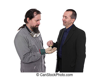 Payment - Craftsman is paid poor by a businessman