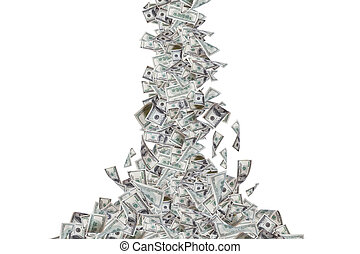 Dollar Banknotes Flying and Falling Down - One hundred...