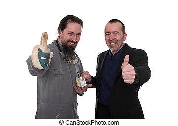 Business transaction - Craftsman and businessman agree on a...