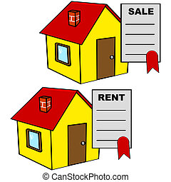 House for sale and for rent - Cartoon illustration showing a...