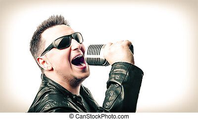 Rock singer and microphone isolated on white