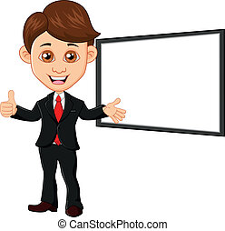 Businessman with blank sign - vector illustration of...