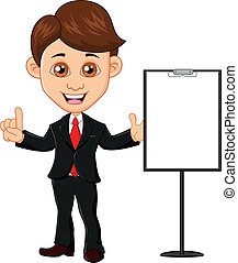 Businessman with clipboard - vector illustration of...