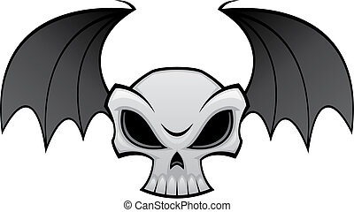 Bat Wing Skull - Vector illustration of an angry skull with...