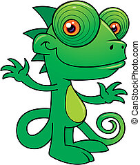 Happy Chameleon - Vector illustration of a Happy little...