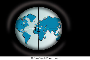 Target - Planet Earth - Sniper scope aimed at the world map