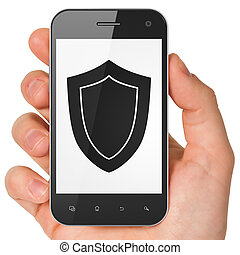 Security concept: Shield on smartphone