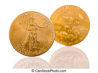 Collection of one ounce gold coins - Pair of gold eagle one...
