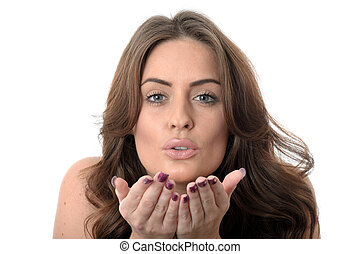 Attractive Young Woman Blowing Kisses