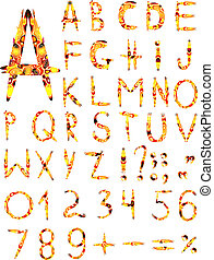 Original multi-coloured font isolated on a white background