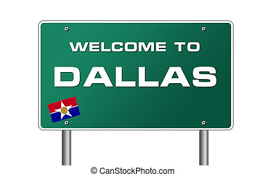 Welcome to Dallas road sign illustration