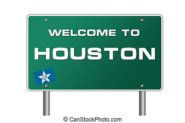 Welcome to Houston road sign illustration