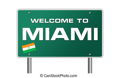 Welcome to Miami road sign illustration