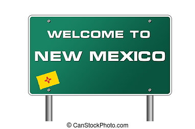 Welcome to New Mexico road sign illustration