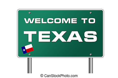 Welcome to Texas road sign illustration