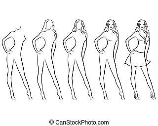 Beautiful female contour in drawing sequence - Sequence of...