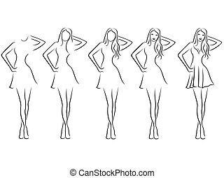 Beautiful young women contour in drawing sequence - Sequence...