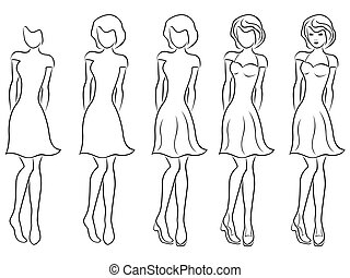 Beautiful women contour in drawing sequence - Sequence of...