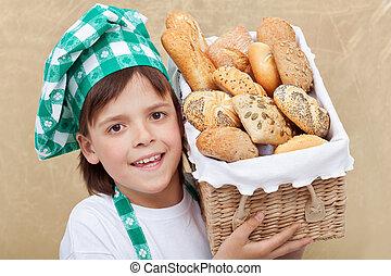 niño, panadero, panadería, productos, tenencia, cesta,...