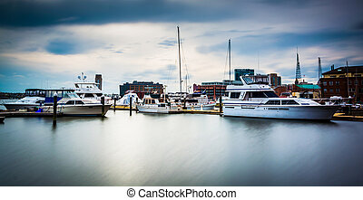 Long exposure of a marina in Fells Point, Baltimore,...