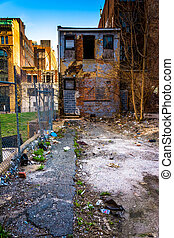 Abandoned building and trash in Baltimore, Maryland.