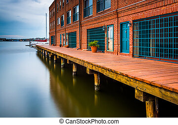 Long exposure of waterfront residences in Fells Point,...