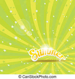 abstract summer vector rays background - vector green rays...