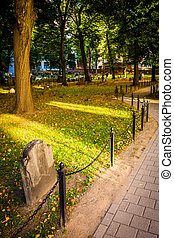 Path through a historic cemetary in Boston, Massachusetts