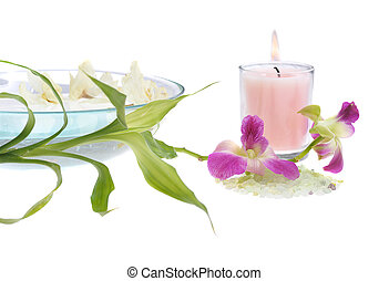 spa theme with pink candle - pink scented candle with green...