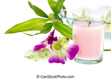 spa theme - pink scented candle with green bath salt and...