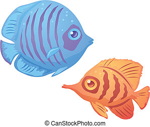 Tropical Fish - Vector illustration of tropical fish with...