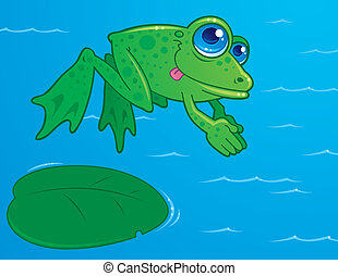 Diving Frog - Vector drawing of a cute frog diving off of a...