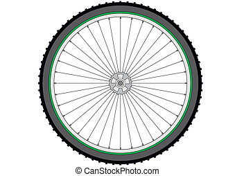 Mountain bicycle wheel on a white background, vector...