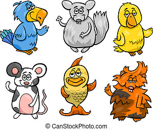 cute pets set cartoon illustration - Cartoon Illustration of...