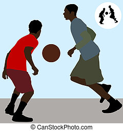Basketball Players - An image of two teenagers playing...
