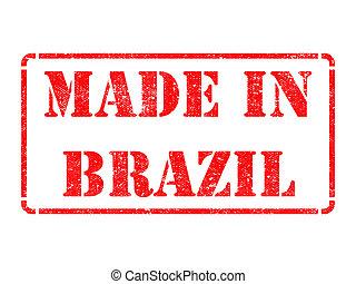 Brasil, inscrição, feito,  -, selo, borracha, vermelho